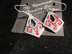 Silver Plated Convex Shapped Earrings with Red Aztec Design #UpstreamTradingCompany #DropDangle