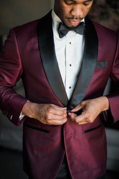 Burgundy suit, black lapels, bowtie, retro-chic, groom style // Shannon Moffit Photography LLC