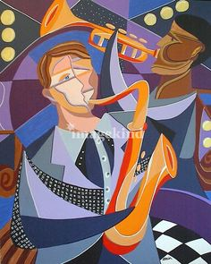 """All that Jazz"" by Kristen Stein, Philadelphia // One of my art deco cubist jazz paintings featuring two musicians: trumpet and saxophone.  Please see my other listings for additional jazz pieces.  They look great together!  Also, visit StudioArtworks.com to see more work by this artist. // Imagekind.com -- Buy stunning, museum-quality fine art prints, framed prints, and canvas prints directly from independent working artists and photographers."