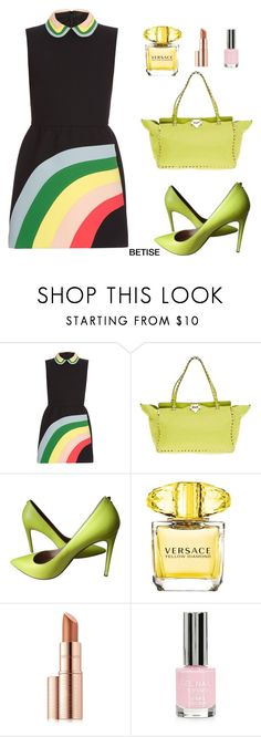 """RAINBOW...."" by betty-sanga ❤ liked on Polyvore featuring RED Valentino, Valentino, Versace, Estée Lauder and Topshop"