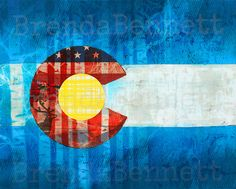 """Colorado Flag - """"Blue Sky Basin"""" - Colorado Flag Art Mixed Media Paper Collage by Brenda Bennett - Gallery Wrapped Canvas Print by BrendaBennettArt on Etsy Flag Art, Thing 1, Traditional Paintings, Mixed Media Art, Collage, Wrapped Canvas, Colorado, Original Paintings, Canvas Prints"""