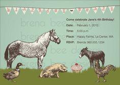 Farm Animal Invitation Custom Printable by brenabeedesigns on Etsy, $10.00
