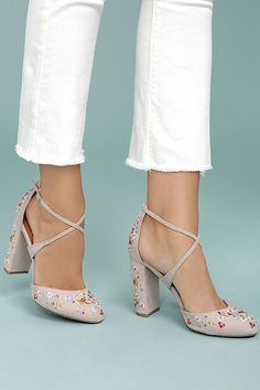 The Lottie Nude Embroidered Ankle Strap Heels are the fun, floral heels you have been searching for! Vegan suede shapes an embroidered almond toe upper. Ankle Strap Heels, Ankle Straps, Shoes Heels, High Heels, Pretty Shoes, Cute Shoes, Floral Heels, Ballerina Shoes, Fashion Heels