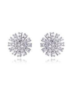 brinco prata com zirconias cristais e banho de rodio semi joias finas