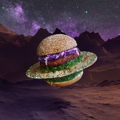 It came from space: The UFO Burger with flying fish roe, tobiko wasabi, breaded chicken fi...