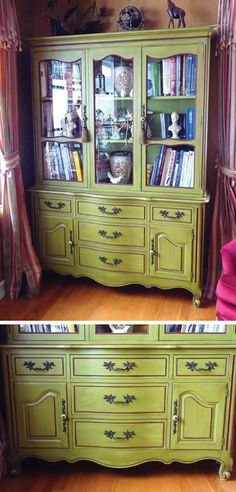 China cabinet upcycled to library.
