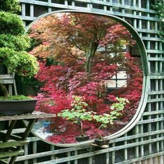 In this Japanese Garden a mirror hung on a trellis reflects the beautiful garden in front of it. Description from housedelicious.com. I searched for this on bing.com/images
