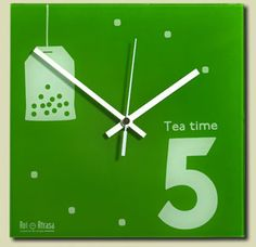"Reloj de pared 24x24 cms / Wall clock 24x24 cms ""Tea Time"""