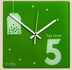 "Reloj de pared 24x24 cms / Wall clock 24x24 cms ""Tea Time"""