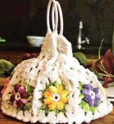 Maria Chike: Porta pratos em crochê flor catavento