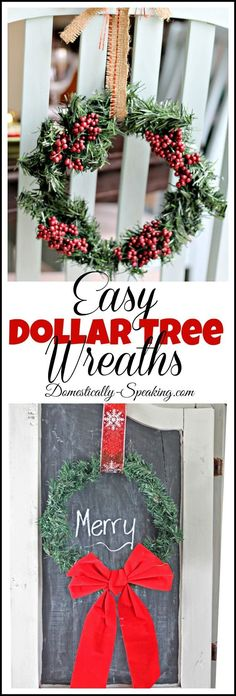Easy Dollar Tree Wreaths~~~~{personal note: I buy a number of these wreaths every year and 'doctor' them up in many ways.  They make a good 'filler' for the center of another 'cheaper' wreath as an example}
