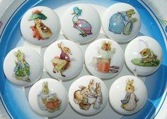 Childrens Drawer Knobs peter rabbit | 10 PETER RABBIT Ben Bunny and friends Beatrix Potter Dresser Drawer ...