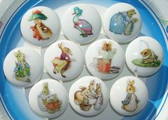 Peter Rabbit and friends' children's drawer knobs! I adore these.