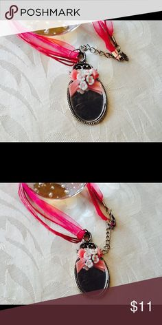 """""""I FEEL PRETTY"""" NECKLACE  🌺 Silver Colored Mirror Pendant With a Pretty Little Pink Ribbon Bow, Pink and White Ceramic Flowers made from Nail Charms on a 16"""" Organza Cord with a 3"""" Silver Extender.  NWOT. OOAK.  Handcrafted by Me. Jewelry Necklaces"""