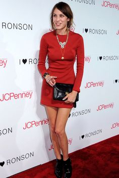 Alexa kissed goodbye to her usual muted shades and came over all lady-in-red on us in this long-sleeved Calvin Klein dress.