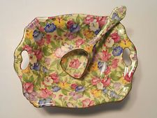 chintz china patterns | ROYAL WINTON SWEET PEA PATTERN CHINTZ HANDLED NUT DISH WITH RARE SCOOP ...