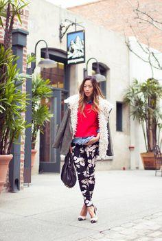(gifted Style Stalker Military Coat, Rachel Rachel Roy Sweater, Levi's Denim Shirt, Motel Rocks Floral Pants c/o MarketHQ, Isabel Marant Gava Pumps, Alexander Wang Rocco Bag)