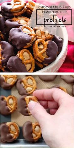 You will love these Chocolate Dipped Peanut Butter Pretzels! Delicious peanut butter is stuffed between two pretzels and dipped in chocolate. The perfect sweet treats for your Christmas and New Year P Pretzel Desserts, New Year's Desserts, Quick Dessert Recipes, Desserts For A Crowd, Candy Recipes, Holiday Baking, Christmas Desserts, Christmas Baking, Easy Fun Desserts