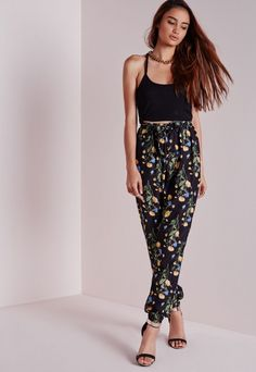 Floral Print Tie Waist Joggers Black - Floral - Joggers - Trousers - Missguided