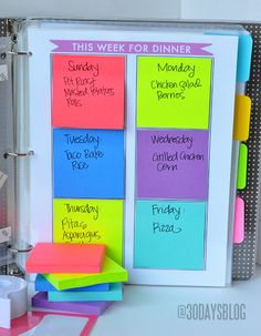 Super easy way to meal plan for each week.  Print out this grid and get organized.  A dry erase marker can be used too!