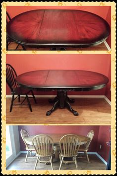 My refinished dining room table! Got the idea to do the edge in black from my husband's guitar...I'm loving it!