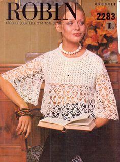 Genuine Vintage 1970s Stunning Lacy Ladies Tunic Crochet Pattern