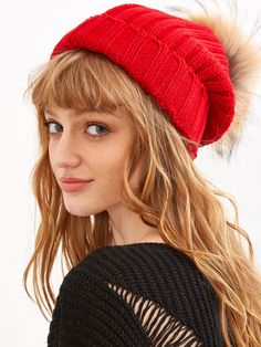17$  Watch here - http://dim9q.justgood.pw/go.php?t=7542 - Red Detachable Fur Pom Ribbed Knit Beanie 17$