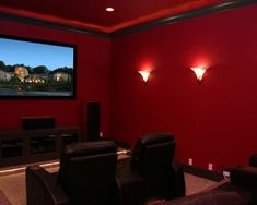 Red Home Accessories Room Colors - Choosing the Perfect Media Room Paint Colors. - Red Home Accessories Room Colors – Choosing the Perfect Media Room Paint Colors… - Movie Theater Rooms, Home Cinema Room, Home Theater Decor, Home Theater Seating, Home Theater Design, Movie Rooms, Theatre, Gym Design, Room Wall Colors