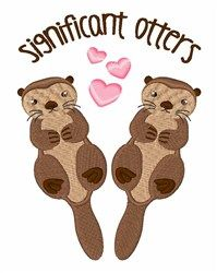 Significant Otters machine embroidery design from embroiderydesigns.com