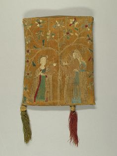 Purse with Two Figures under a Tree Date: 14th century Culture: French Medium: Embroidery in silk & metal thread on canvas