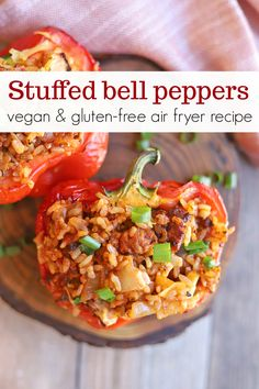 This easy air fryer recipe is great for dinner. Bell pepper halves are stuffed with Beyond Meat sausage, onions, garlic, rice, and marinara. Ready in only 30 minutes! Vegan and gluten free. Dinner Entrees, Dinner Recipes, Veggie Sausage, Roasted Apples, Vegan Recipes Easy, Vegan Meals, Air Fryer Recipes, Vegan Dishes, Dinner Bell