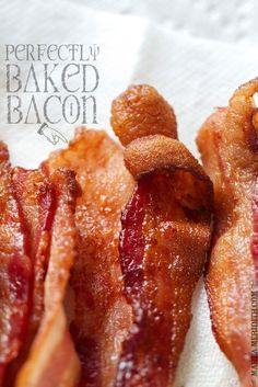 How to: Perfectly Baked Bacon: line pan with foil. Use Applegate Farms Organic Uncured Turkey Bacon. Toaster Oven Cooking, Convection Oven Recipes, Toaster Oven Recipes, Toaster Ovens, Baked Bacon Recipe, Bacon Recipes, Brunch Recipes, Cooking Recipes, Bacon Food