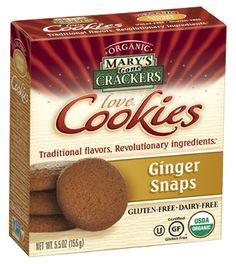 Mary's Ginger Snap love Cookies use real organic ginger that explodes on your tongue. You'll find these organic, gluten free, vegan cookies are rich in flavor and, because they are made with unique whole food ingredients and low glycemic sweeteners, they satisfy your sweet tooth and you still feel good after eating them!