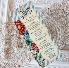 Wedding Menu Card Rustic Watercolor Floral Boy Met Girl Collection by SunshineandRavioli, $1.75