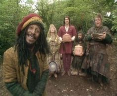 Barrington on pancake day, Maid Marian and her Merry Men   ~ Barrington, played by Danny John-Jules (yes, it's Cat from Red Dwarf!) was my favourite character...i never once wondered why there was a dreaded rastafarian in Olde Worlde Britain until now! haha