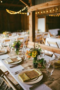 Beautiful Barn Wedding Table Settings & New York Farm Wedding | Rustic table decorations Rustic table and ...