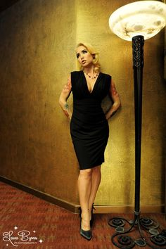Gia Dress in Black Matte Jersey Knit #pinupgirlclothing