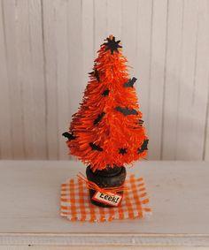 "Miniature Halloween Tree  Orange With Black Bats 2 1/2"" tall"
