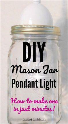 How to make a DIY mason jar pendant light in minutes! Tutorial on Dagmar's Home, DagmarBleasdale.com #DIY #lighting #DIYhomedecor #homedecor #homedecorideas #masonjar #pendantlight