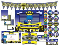 Printable+Multi-Purpose+Party+Pack+-+Superhero+Bat+Boy+Baby+Kids+from+Wonderful+Dreamland+on+TeachersNotebook.com+-++(24+pages)+