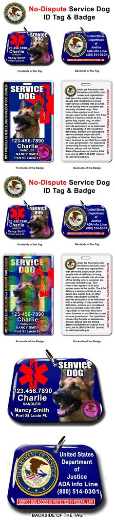 Tags and Charms 177790: Service Dog Id Tag And Badge Combo Custom Photo Id For Pet Blue -> BUY IT NOW ONLY: $37.95 on eBay!