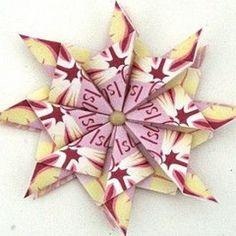 Rosette tea bag folding - origami star instructions