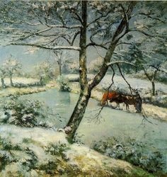 Winter at Montfoucault, Camille Pissarro Medium: oil,canvas Claude Monet, Impressionist Artists, Impressionism Art, Paul Gauguin, Camille Pissarro Paintings, Pissaro Paintings, Oil Canvas, Mary Cassatt, Oil Painting Reproductions