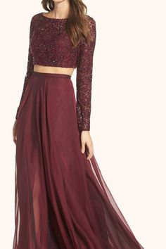 Gorgeous Two Piece Long Sleeves Lace Prom Gown Burgundy Formal Dress Burgundy Prom Dress Two Piece Gown, Prom Dresses Two Piece, Prom Dresses Long With Sleeves, Sexy Dresses, Elegant Dresses, Long Gown Elegant, Black 2 Piece Dress, Long Gowns, 1950s Dresses