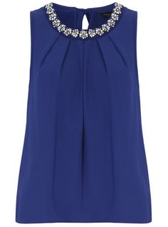 Blue daisy embellished bubble top