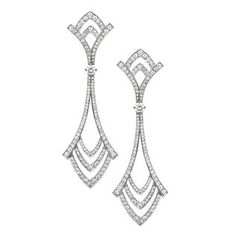 Deco Diamond Drop Earrings