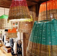 Plasti Dipped basket lamps. Plasti Dip is available at Crown Ace Hardware (www.crownace.com).