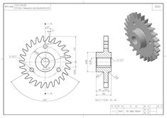 Engineering Symbols, Mechanical Engineering Design, Mechanical Design, Autocad Isometric Drawing, Gear Drawing, Cad 3d, Learn Autocad, Solidworks Tutorial, Blueprint Art