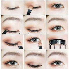 Trendy Makeup Tutorial Beginner Make Up Ideas Korean Makeup Look, Korean Makeup Tips, Asian Eye Makeup, Natural Eye Makeup, Eye Makeup Tips, Korean Makeup Ulzzang, Korean Makeup Tutorial Natural, Makeup Ideas, Makeup Inspo
