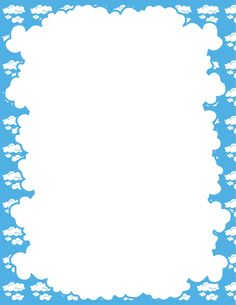 A page border with a cloud-shaped central area and clouds around the perimeter on a blue background. Free downloads at http://pageborders.org/download/cloud-border/